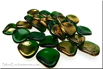 14mm Czech Glass Rose Petal Beads EMERALD Gold