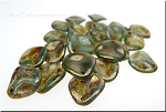 14mm Czech Glass Rose Petal Beads PERIDOT Bronze Picasso