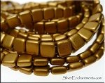 6mm CzechMates Two Hole Tile Beads Matte GOLDENROD