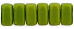 CzechMates 3x6mm Two Hole Brick Beads OLIVE