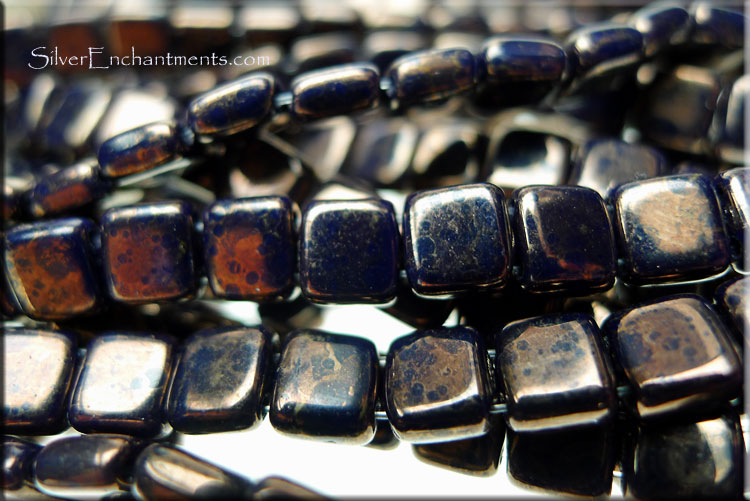 SOLDOUT - CzechMates Tile Beads, NAVY Moon Dust - SOLDOUT