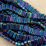 CzechMates 3x6mm Two Hole Brick Beads IRIS BLUE