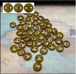 6mm Chartreuse Copper Picasso CzechMates 2-Hole Lentil Czech Glass Bead