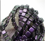 6mm CzechMates Two Hole Tile Beads Polychrome PURPLE Black CURRANT