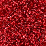 Size 11 Delica Beads, Christmas Red Silver Lined, DB602