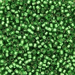 Size 11 Delica Beads, Kelly Green Semi-Matte Silver Lined, DB0688
