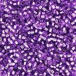 Transparent Silver-Lined Medium Purple Delicas, Size 11 Delica Seed Beads