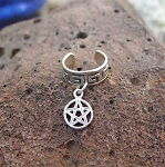 Sterling Silver Celtic Pentacle Ear Cuff, Pentagram Ear Cuff