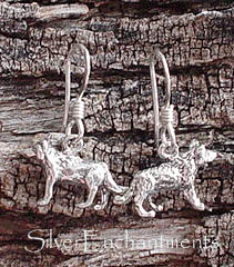 Sterling Silver Wolf Earrings, 3D