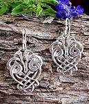 Celtic Love Birds Earrings, Sterling Silver Celtic Earrings
