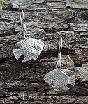 Sterling Silver Fish Earrings, Double-sided