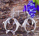 Sterling Silver Dolphin Earrings, Kissing