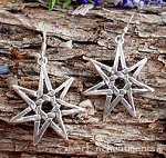 Sterling Silver Septagram Earrings, 7-pointed Star Earrings
