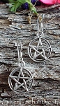 Sterling Silver Pentacle Earrings, Pentagram Earrings