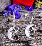 Sterling Silver Moon Earrings with Star, Crescent Moon Earrings