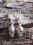 Sterling Silver 3D Skull Earrings