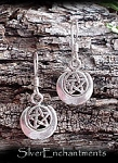 Sterling Silver Moon Pentacle Earrings, Priestess Earrings