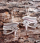 Sterling Silver Eye of Horus Earrings, Egyptian Earrings