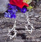 Star of David Earrings, Sterling Silver Star of David Charm Earrings
