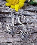 Butterfly Earrings, Sterling Silver Dangling Monarch Butterfly Charm Earrings