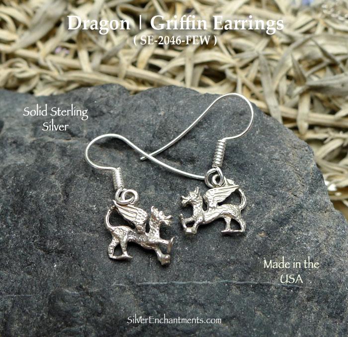 Dragon Earrings Griffin Sterling Silver Dangling Charm