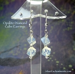 Opalite Earrings, Unique Stacked Diamond Cube Dangle Earrings, Beaded