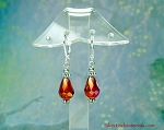 Dangling Red Crystal Earrings with Golden AB Aura on Silver Leverback Earwires, Teardrop Earrings