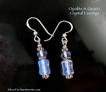 Opalite and Quartz Earrings, Opalite Earrings with Rock Crystal