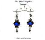 Blue-Violet Bohemian Crystal Earrings in Solid Sterling