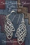 Sterling Silver Celtic Leaf Earrings