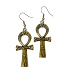 Bronze Fancy Ankh Earrings, Antique Brass Egyptian Earrings, Egyptian Jewelry