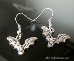 Silver Bat Earrings, Halloween Jewelry
