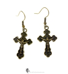 Bronze Crucifix Earrings, Catholic Cross Earrings