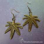 Large Brass Marijuana Earrings, Bronze Cannabis Pendant Earrings, Leaf Jewelry