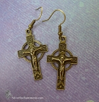 Bronze Orthodox Cross Earrings, Crucifix Earrings