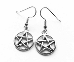 Silver Pentacle Earrings, Wiccan Pentagram Earrings