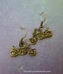 Bronze Motorcycle Earrings, Motorcycle Jewelry