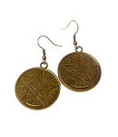 SOLDOUT - Large Tetragrammaton Earrings, Esoteric Pentagram Jewelry, Antique Brass