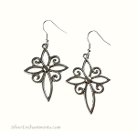 Silver Filigree Cross Earrings - Large Everyday Christian Jewelry