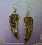 Brass Large Angel Wing Earrings - Angel Jewelry