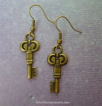Key Earrings, Bronze Double-Sided Key Earrings, Key Jewelry, Hekate Earrings