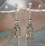 Silver Love Earrings, Small Love Word Earrings