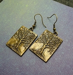 Bronze Tree of Life Earrings, World Tree Ygddrissl