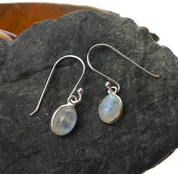 Rainbow Moonstone Earrings Sterling Silver Genuine Small Dangle Teardrop