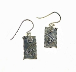 Sterling Silver Rustic Flower Earrings with Windy Scrollwork