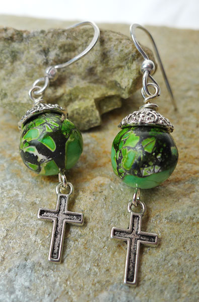 Cross Earrings with Green Mosaic Turquoise