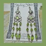 Peridot Earrings, Art Deco Swag Chandelier Earrings, Sterling Silver and Gemstone Earrings