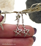 Sterling Silver Star Earrings, Small Pentagram Earrings