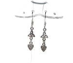 Sterling Silver Celtic Heart Earrings, Triquetra Earrings with Dangling Hearts