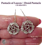 Sterling Silver Woodland Pentacle Earrings, Druidic Pentagram Earrings